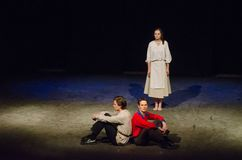 The Epic Drama The Hungry Blood. DNIPRO, UKRAINE - NOVEMBER  25, 2017: The Epic Drama The Hungry Blood performed by members of the Dnipro Youth Theatre Stock Images