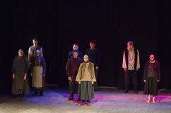 The Epic Drama The Hungry Blood. DNIPRO, UKRAINE - NOVEMBER  25, 2017: The Epic Drama The Hungry Blood performed by members of the Dnipro Youth Theatre Royalty Free Stock Photo