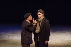 The Epic Drama The Hungry Blood. DNIPRO, UKRAINE - NOVEMBER  25, 2017: The Epic Drama The Hungry Blood performed by members of the Dnipro Youth Theatre Stock Photo
