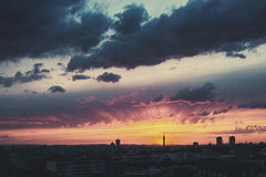 Epic Dramatic Sunset Sky in Industrial City Royalty Free Stock Photos
