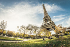 Epic eiffel tower. Autumn sun setting by the Eiffel Tower Stock Images
