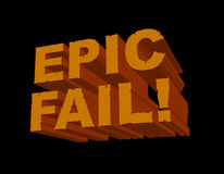 Epic Fail! 3D. A fun 3D image with 'Epic Fail!' in a cracked and eroded font. This is a cheeky popular gamer/online slang phrase for anyone or anything that is a vector illustration