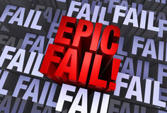 An Epic Fail. A bold, red EPIC FAIL emerges from a muted 3d background made up of multiple instances of the word FAIL Stock Photos