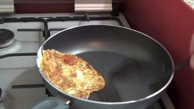 The epic fail with egg in the kitchen stock video
