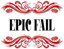 EPIC FAIL red floral text frame. Stock Photos