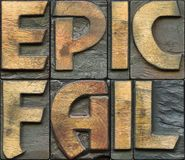 Epic fail wooden letterpress Royalty Free Stock Images