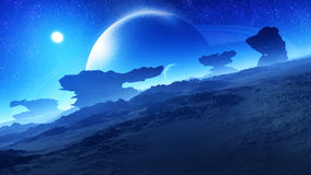 Epic Glorious Alien Planet Night. Glorious, majestic, epic night environment in an alien planet with extremely strange natural landscape structures. In the sky a Stock Photo