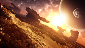 Epic Glorious Alien Planet Sunset Environment. Glorious, majestic, epic sunset environment in an alien planet with extremely strange natural landscape structures Stock Photo