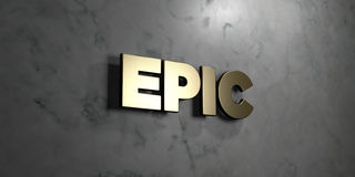 Epic - Gold sign mounted on glossy marble wall - 3D rendered royalty free stock illustration. This image can be used for an online website banner ad or a print Stock Illustration