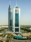 Epic high shoot of Dubai twin towers on Sheikh Zayed Road stock images