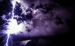 Epic and intense lightning bolt strike. Stock Photo