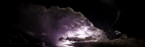 Epic and intense lightning super cell. Massive super cell thunderstorm cloud Stock Photography