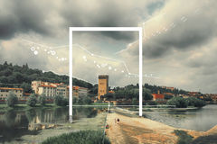 Epic landscape, attraction of geometry Stock Images