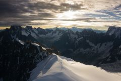 Epic landscape in Mont Blanc from Aiguille du Midi cable car station royalty free stock images