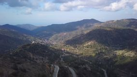 Epic landscape in mountains of Cyprus, Troodos, daytime, aerial view. Amazing nature stock video footage