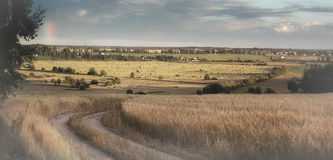 Epic landscape wheat field road haystack Royalty Free Stock Photos
