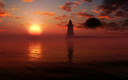 Epic Lighthouse Sunset Environment. Epic and fantasy lighthouse and ocean environment on a vivid, colorful fantasy type of sunset royalty free stock image