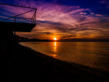 Epic Mid Season Sunset. Epic sunset with majestic clouds and glorious sun on the horizon during the mid season times on shoreline of Marmara region of country Royalty Free Stock Image