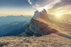 Epic Misty Morning Landscape of Dolomites Alps. Majestic Seceda Peak Tyrol, Italy, Europe. Epic Misty Morning Landscape of Dolomites Alps. Majestic Seceda Peak royalty free stock image