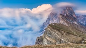 Epic Misty Morning Landscape of Dolomites Alps. Majestic Seceda Peak Tyrol, Italy, Europe. Adige, alpine, alto, amazing, beautiful, blue, cliff, clouds royalty free stock image