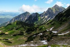 Epic mountain landscape in the bavarian alps to travel and hike stock photography