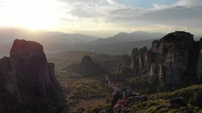 Epic mountains sunset in Greece stock footage