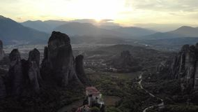 Epic mountains sunset in Greece. Aerial shot stock footage