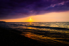 Epic Ocean Sunset Scenery Royalty Free Stock Images