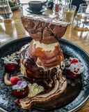 Epic pancake stack with ice-cream! stock photos
