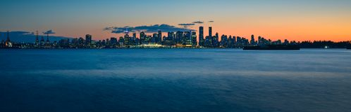 Epic Panoramic Skyline Shot of Vancouver during Blue Hour royalty free stock images