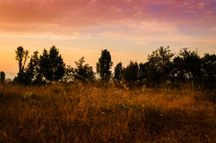 Epic Pastoral Landscape Sunset Stock Photo
