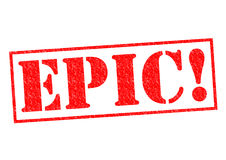 EPIC!. Red Rubber Stamp over a white background Royalty Free Stock Images