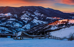 Epic red sunrise in Carpathian countryside Royalty Free Stock Images