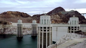 Epic shot of Hoover Dam and Colorado River. Epic static shot of Boulder Dam and Colorado River stock video