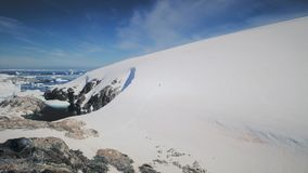 Epic snow antarctica plenau island aerial view stock footage