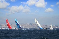 Volvo Ocean Race 2017-18. Epic start of the Volvo Ocean Race 2017-18 and possibly one of the most exciting start we`ve seen from Alicante royalty free stock photography