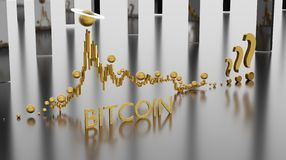 Epic stock chart of Bitcoin cryptocurrency with increase and decrease of the exchange rate. From the beginning. Financial growth concept with golden Bitcoin as royalty free illustration