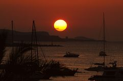 Sunset ocean panorama view in Ibiza Balearic Islands Soain. Epic summer sunset vibes over the Mediterranean sea in Ibiza, Spain Stock Photos