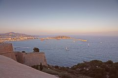 Sunset ocean panorama view in Ibiza Balearic Islands Soain. Epic summer sunset vibes over the Mediterranean sea in Ibiza, Spain Royalty Free Stock Photography