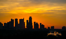 Epic sunrise Austin silhouette downtown skyline twilight. Congress bridge Is visible with town lake and an amazing cloud cover with the texas state capital Royalty Free Stock Photos
