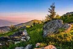 Epic sunrise in high mountain ridge Royalty Free Stock Photography