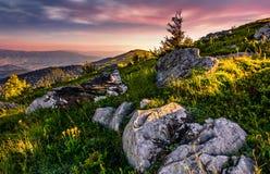 Epic sunrise in high mountain ridge Royalty Free Stock Photos