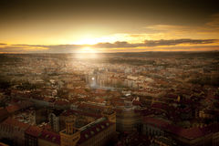 Epic sunset over city with football stadion in Prague. Czech Republic Royalty Free Stock Images