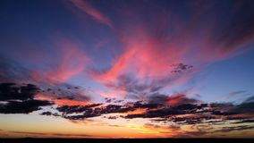 Kalgoorlie Sunset with colourful clouds. An epic sunset over Kalgoorlie. Autumn 2018. Pink and gold clouds Royalty Free Stock Photo