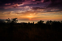 Epic Sunset Over The Sea With Natural Landscape Royalty Free Stock Images