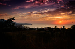 Epic Sunset Over The Sea With Natural Landscape Stock Photo