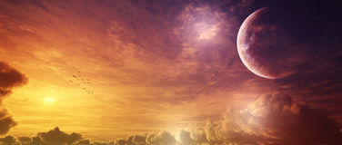Epic Sunset Panorama With Super Moon Royalty Free Stock Photos