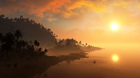 Epic Tropical Island Sunset Royalty Free Stock Photo