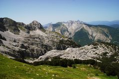 Epic view of Apuan Alps in Toscany stock photo