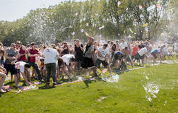 Epic water balloon battle Stock Photography